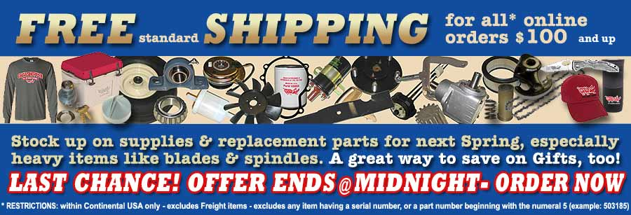 FREE SHIPPING at THE MOWER SHOP